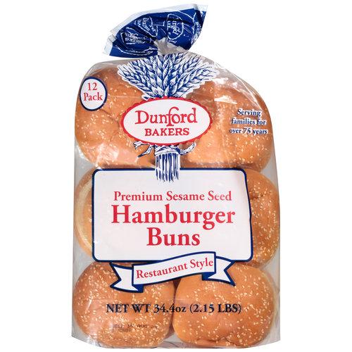 Dunford Bakers Premium Sesame Seed Hamburger Buns, 12ct, 34.4oz