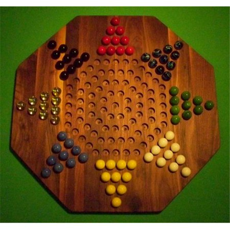 THE PUZZLE-MAN TOYS W-1958 Wooden Marble Game Board - Chinese Checkers - New 22 in. Octagon - 8-Player - Walnut ()