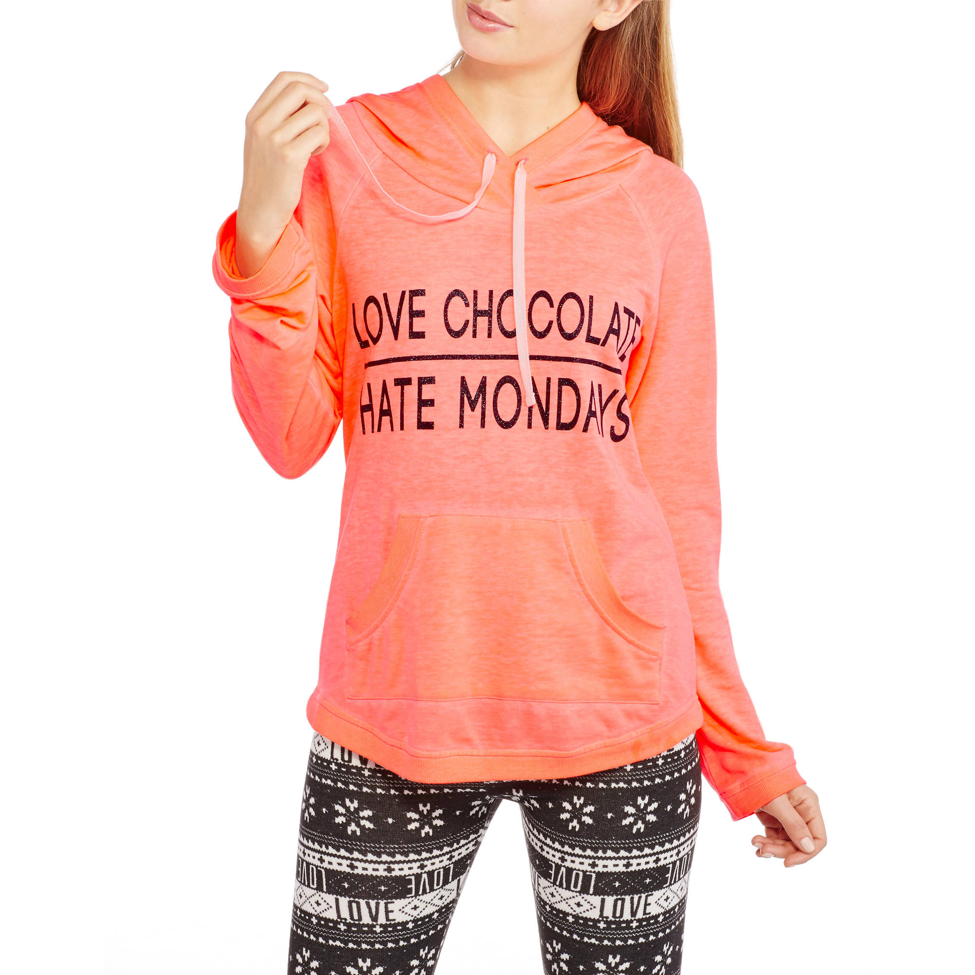 Miss Chievous Juniors' Burn Wash French Terry Love Chocolate Hate Mondays Sweatshirt