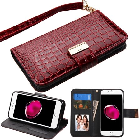 Insten Flip Leather Wallet Crocodile Skin Case with Lanyard & Photo Display For Apple iPhone 7 Plus - Burgundy