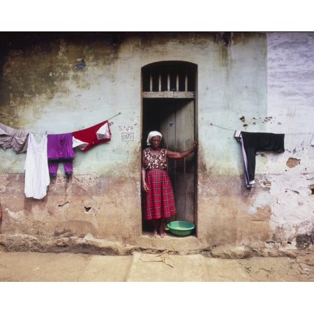 Woman In Front Of The House Democratic Republic Of Sao Tome And Principe Canvas Art - Henning Marstrand Design Pics (34 x 26)