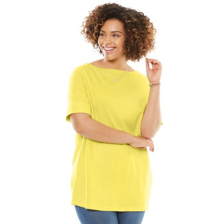 Plus Size Boatneck Cuffed-sleeve Perfect Tee