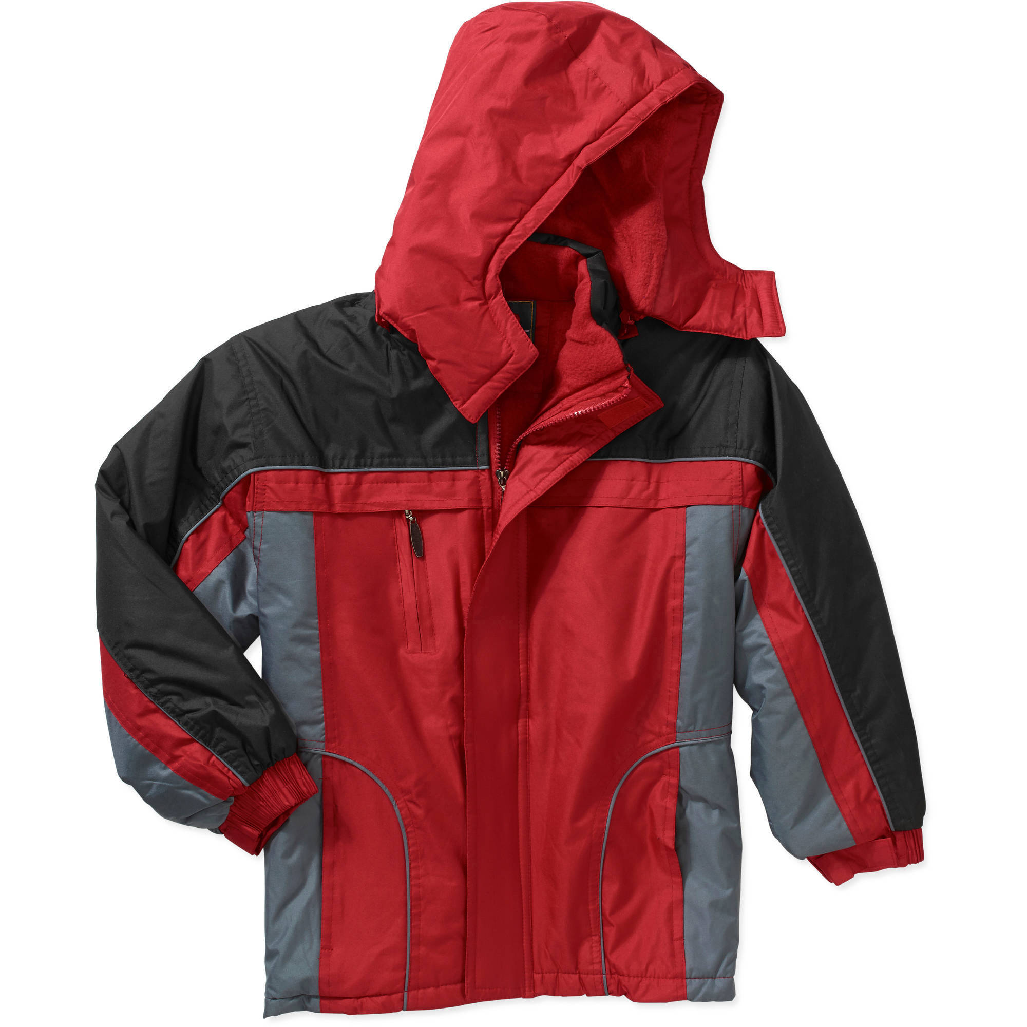 Climate Concepts Boys Midweight Color Block Polar Fleece Lined Hooded Jacket
