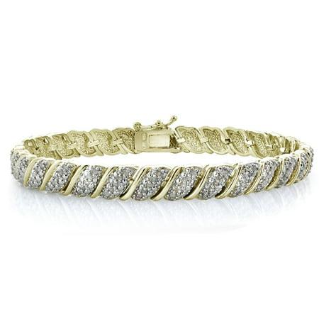 1ct Diamond Fancy Tennis Bracelet in Brass