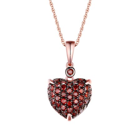 Mica Dome Pendant (Puffed Dome 0.82Ct Cognac Diamond Heart Shape Valentine Pendant Crafted in 14k Rose Gold-Prism Jewel)