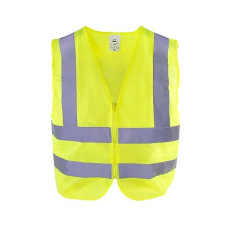 Neon Yellow High Visibility Front Zipper Safety Vest, Large - image 1 of 1