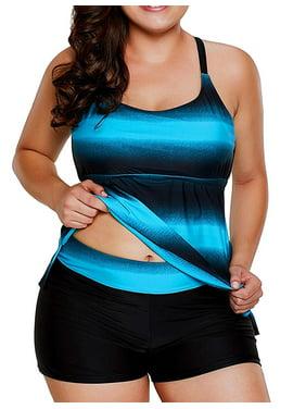 Women Plus Size Bathing Suits, Color Block Striped Tankini Swimsuits with Boyshorts Swimwear