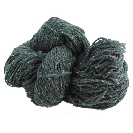 Aran Knitting Yarn 100  Wool Green Fleck