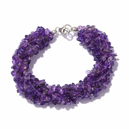 Amethyst Chips Bracelet 925 Sterling Silver Platinum Plated Jewelry for Women Gift Size - Gemstone Chip Stretch Bracelet