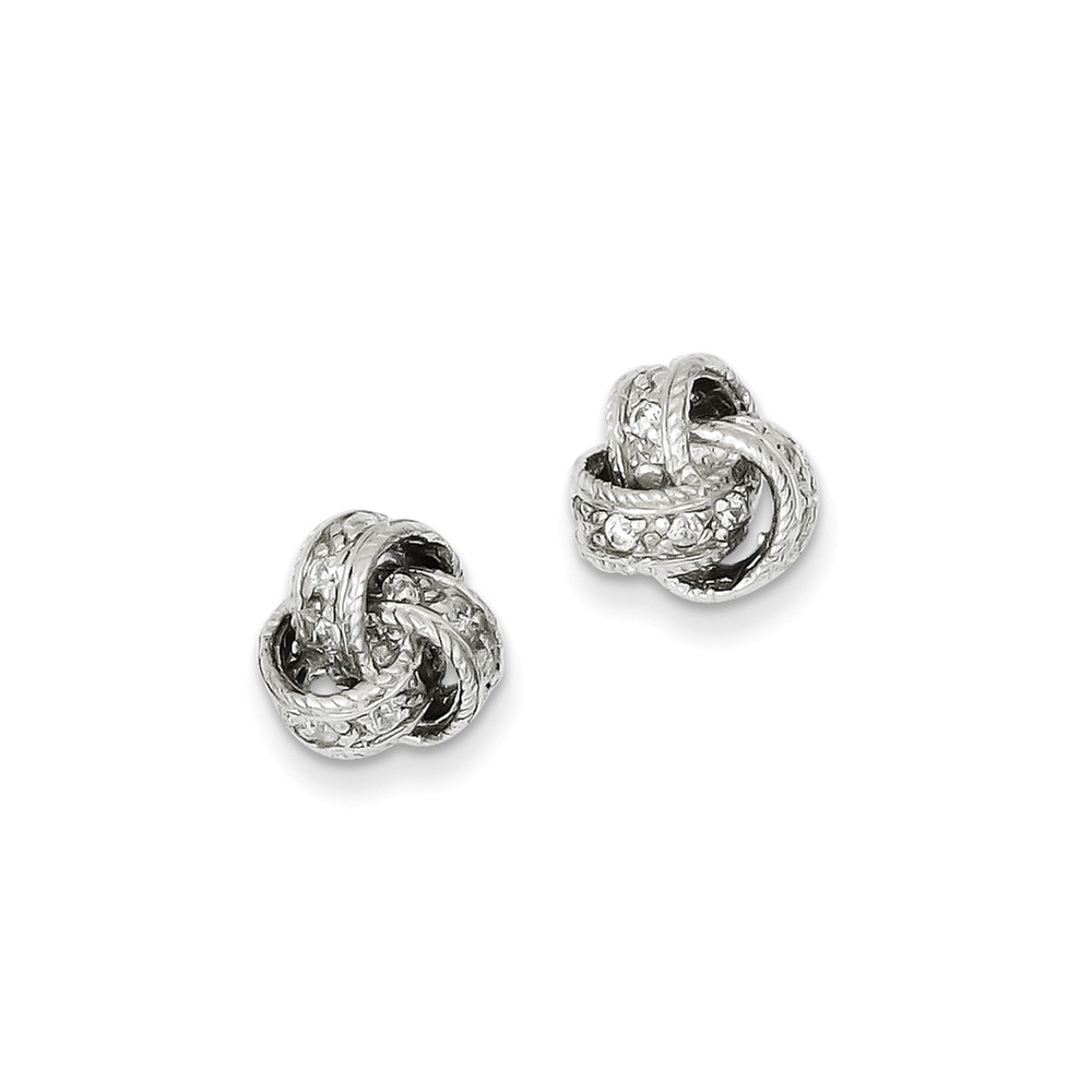 Sterling Silver Fancy CZ Love Knot Post Earrings (0.4IN x 0.3IN )