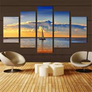 5 Piece Beautiful Sunset Sea Water Sailboat  Canvas  Wall Art Home Decoration Frameless Spray Painting Core Five Waterproof No Framed Canvas Print Painting