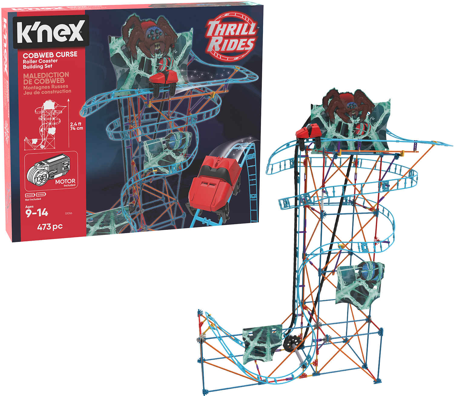 K Nex Thrill Rides Cobweb Curse Roller Coaster Building Set 473 Pieces Ages 9 Construction Educational Toy Walmart Com Walmart Com