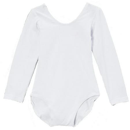 Wenchoice Girl's White Long-Sleeve Leotard - L(5T-6T) (White Leotard Girls)