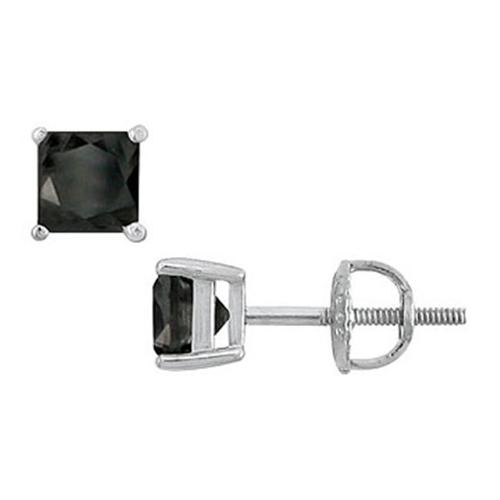 Fine Jewelry Vault SCER14WHSQ200BD 14K White Gold - Princess Cut Black Diamond Stud Earrings - 2. 00 CT.  TW.