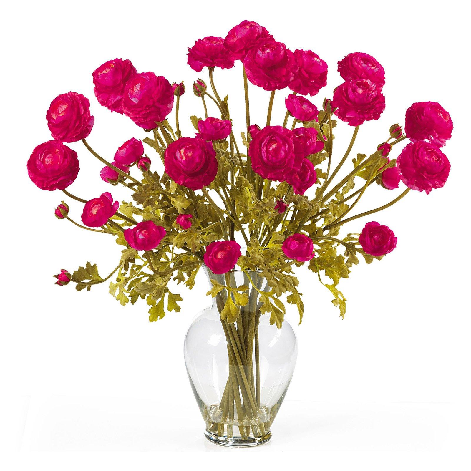 Nearly Natural Ranunculus Liquid Illusion Silk Flower Arrangement, Beauty