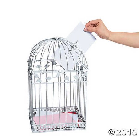 White Metal Birdcage Wedding Card Holder Bridal Reception Supplies Wishing Well - Birdcage Card Holder