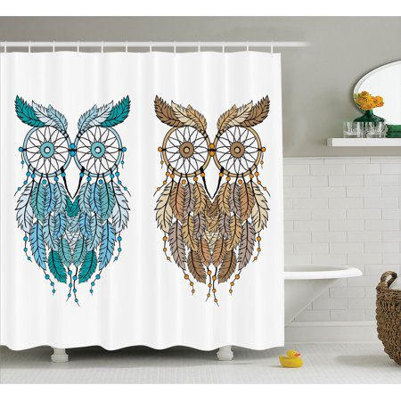 Owls Home Decor Shower Curtain Set Dreamcatcher Style Owl Tribal Ethnic Features Magic Farsighted Birds
