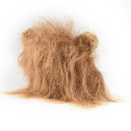 Halloween Dog Games (Furry Pet Hat Costume Lion Mane Wig For Cat Halloween Dress Up With Ears)