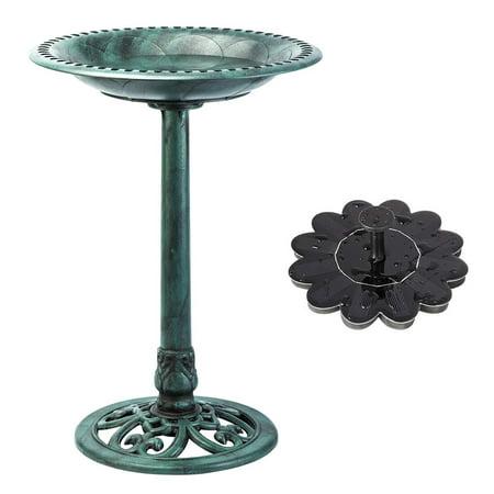 Powder Bird (VIVOHOME Polyresin Pedestal Outdoor Garden Bird Bath & Solar Powered Sunflower Pond Fountain Combo Set - Green )