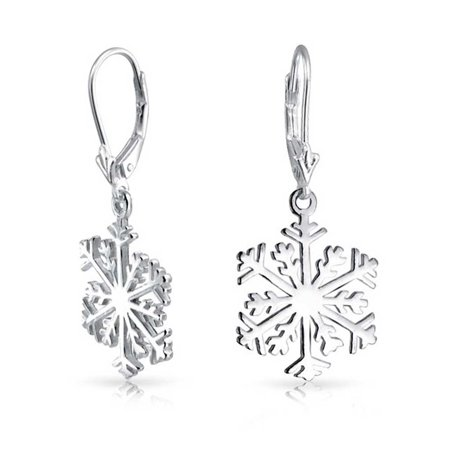 Winter Christmas Holiday Snowflake Dangle Leverback Earrings For Women For Teen Polished 925 Sterling (Christmas Snowflake Earrings)