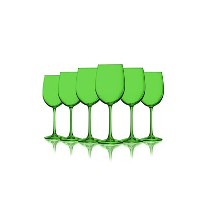 Light Green Colored Wine Glasses - 19 oz. set of 6- Additional Vibrant Colors Available ()