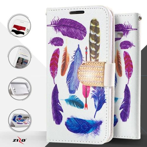 Insten Feathers Flip Leather Case with Diamond For Samsung Galaxy J7 (2015) - Blue/White