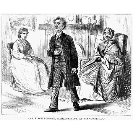 Poor Miss Finch 1871 NMr Finch Stopped Horror-Struck At His Condition Illustration For Chapter Seventeen Of The Novel Poor Miss Finch By Wilkie Collins Engraving American 1871 Rolled Canvas Art -  (Seventeen Solutions New Ideas For Our American Future)