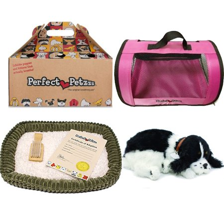 Perfect Petzzz Huggable Breathing Puppy Dog Pet Bed Cocker Spaniel with Pink Tote For Plush Breathing