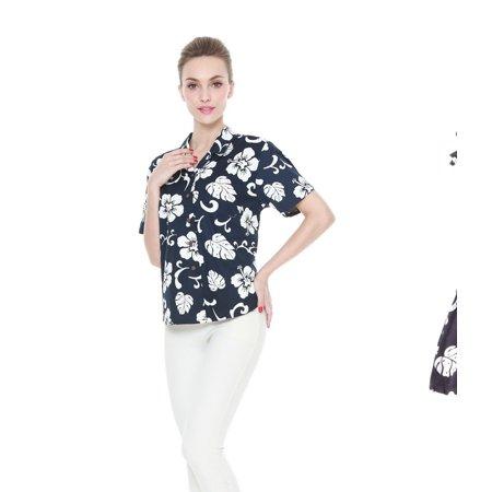 eb0c5ed9bd90 Hawaii Hangover - Matching Mother Daughter Hawaiian Luau Outfit Lady Shirt  Girl Elastic Dress Navy Hibiscus 3XL-4 - Walmart.com