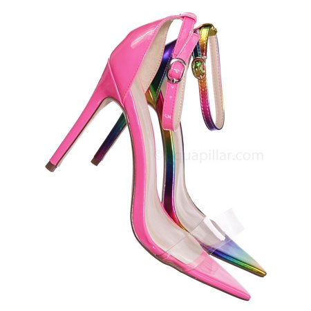 Exception10 by Anne Michelle, Pointed Open Toe Perspex Clear Sandal - Translucent Lucite Heel