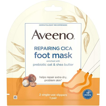 Repairing CICA Foot Mask with Prebiotic Oat and Shea Butter, Moisturizing Foot Mask for Extra Dry Skin, 2 Single-Use Slippers 1 ea, Indulge your feet in.., By Aveeno