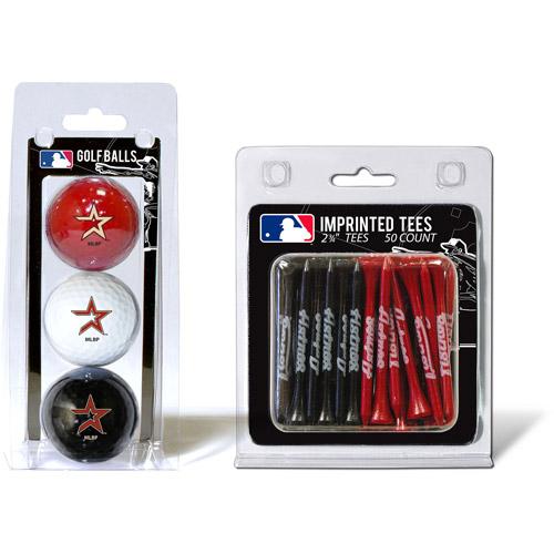 Team Golf MLB Houston Astros 3 Golf Balls And 50 Golf Tees
