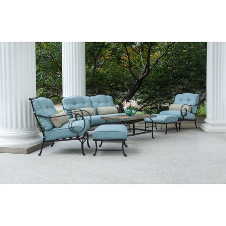 Hanover Oceana 6-Piece Patio Set in Ocean Blue with a Stone-top Coffee Table ()