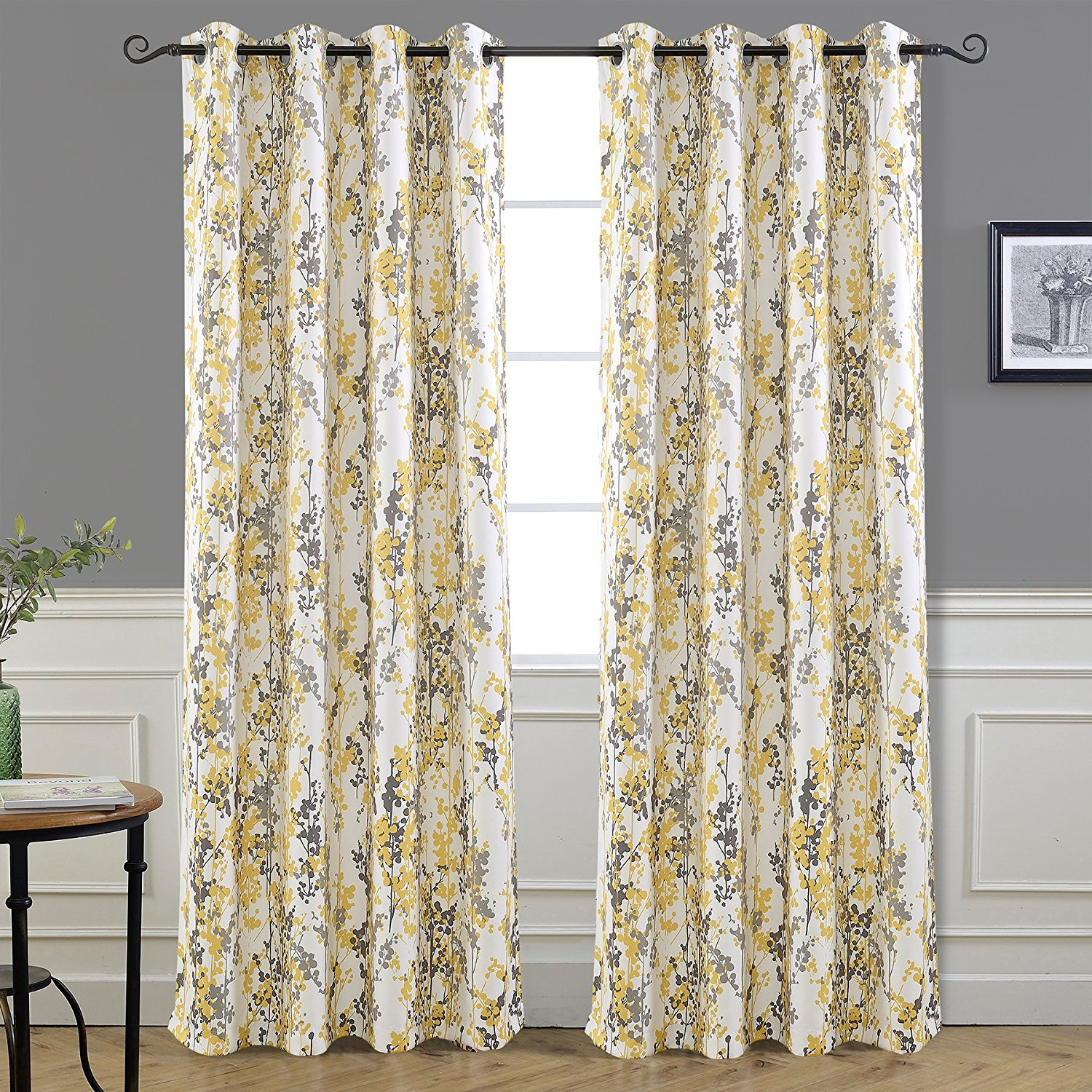 "DriftAway Leah Abstract Floral Blossom Ink Painting Room Darkening/Thermal Insulated Grommet Unlined Window Curtains, Set of Two Panels, each size 52""x84"" (Yellow/gray)"