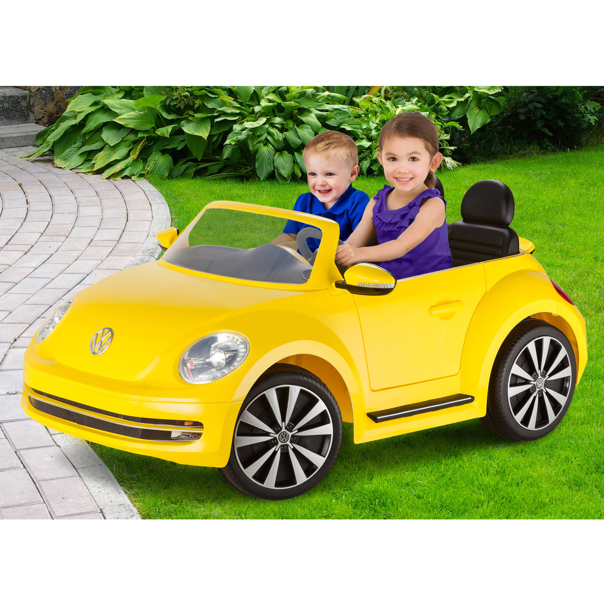 kid trax vw beetle convertible 12 volt battery powered ride on yellow walmartcom