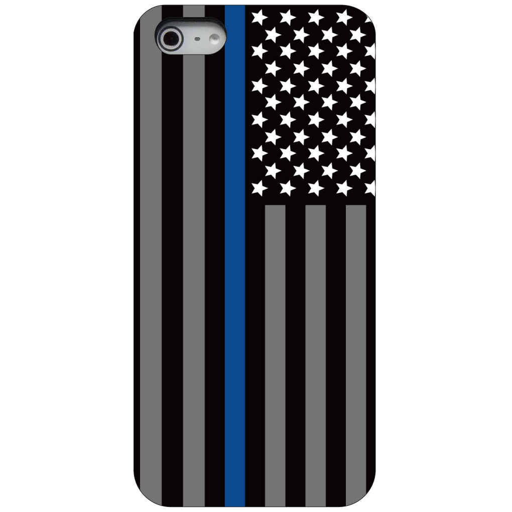 CUSTOM Black Hard Plastic Snap-On Case for Apple iPhone 5 / 5S / SE - Thin Blue Line US Flag Law Enforcement