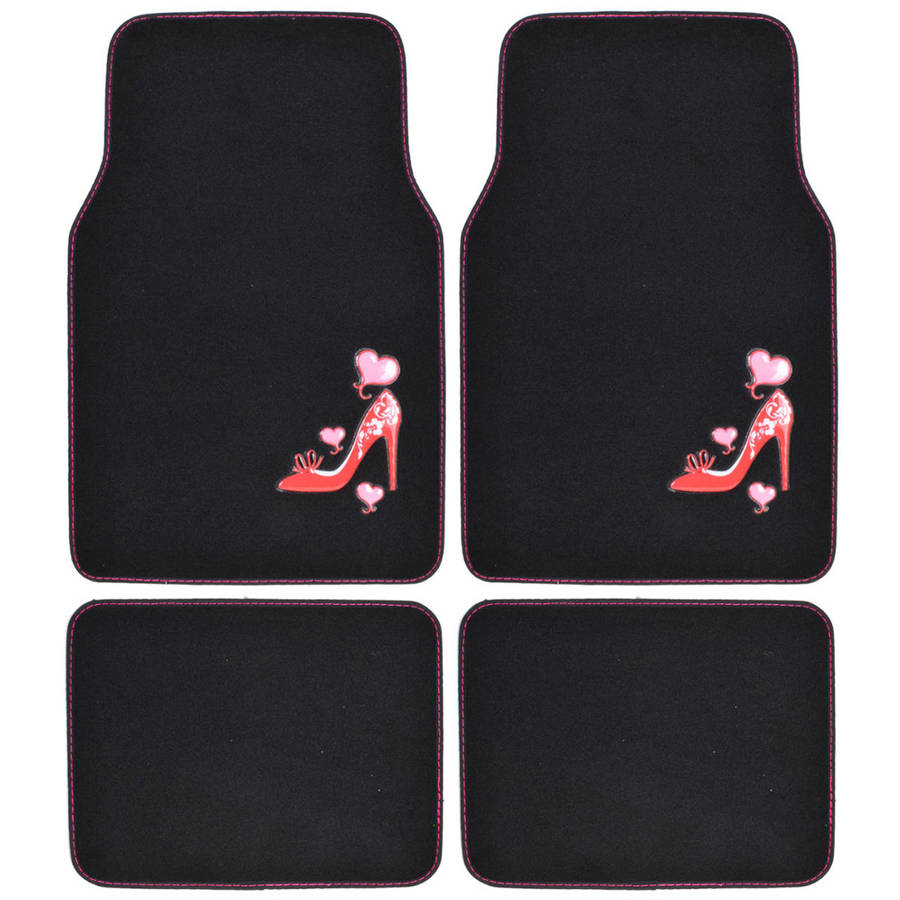 BDK Pink Love Heel Design Carpet Floor Mats for Car SUV, 4 Piece Set