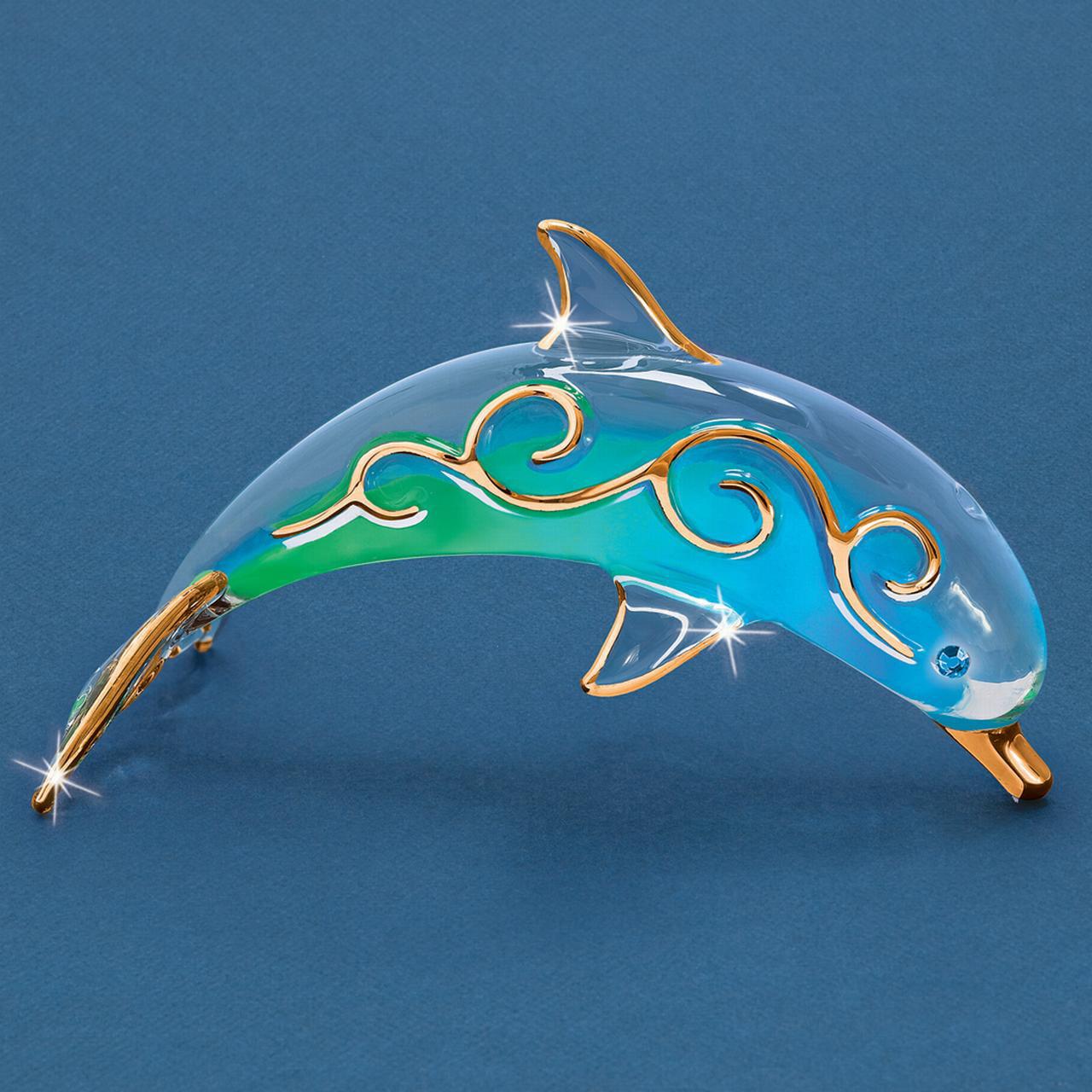 Paradise Dolphin Glass Figurine Floral Garden Nautical Pet Animal Glas Baron For Women