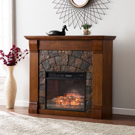 Mishal Faux Stone Infrared Fireplace, Salem Antique Oak