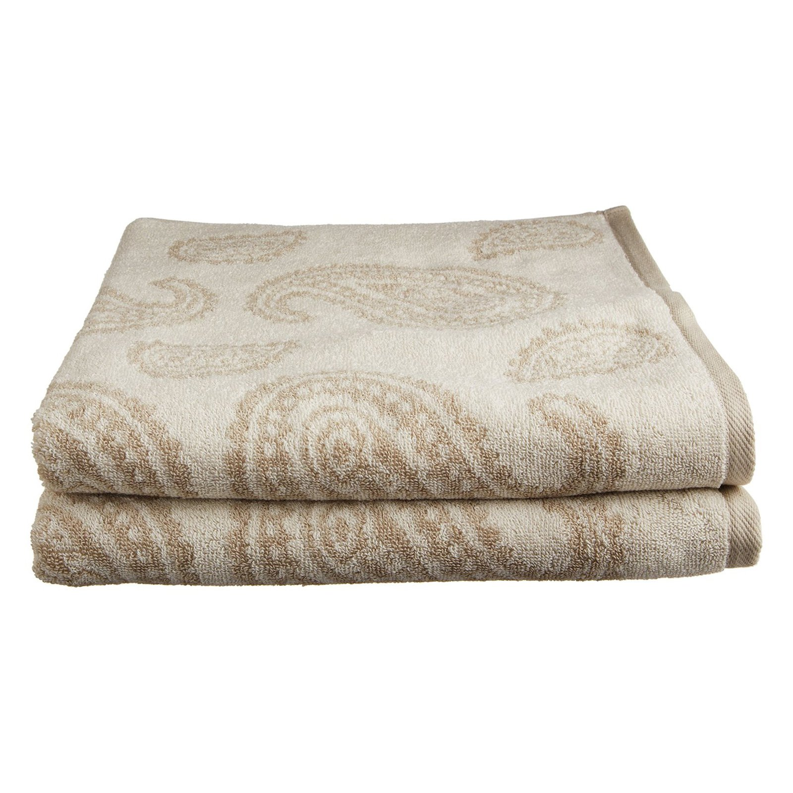 Superior Long-Staple Combed Cotton Loops Paisley 2 Piece Bath Towel Set