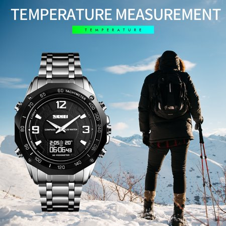 SKMEI 1464 Hommes Montre À Quartz Montre Mode Casual Sports De Plein Air Homme Montre-Bracelet Temps Affichage Alarme Chronomètre 3 ATM Étanche Lumineux Bracelet En Acier Inoxydable Montre Relogio Mas - image 2 de 7