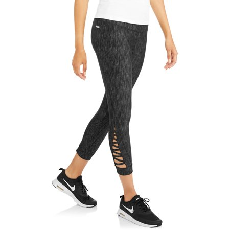 Danskin Now Women's Active Jaquard Crop Legging With Lattice Ankle Detail