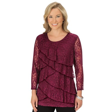 Waterfall Wine (women's lace all over tiered ruffle trim top - elegant front layered waterfall design, large, wine )