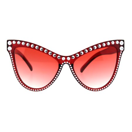 Womens Show Bulb Sign Engraving Plastic Cat Eye Horned Sunglasses Red ()