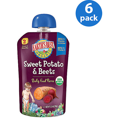 Earth's Best Puree Organic Sweet Potato & Beets 3.5oz - Stage 2 Baby Food (Pack of 6)