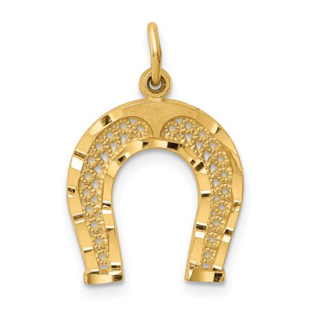 Horseshoe Italian Charm - 14k Yellow Gold Horseshoe Pendant Charm Necklace Good Luck Italian Horn Animal Horse For Women