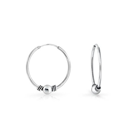 Bali Style Tribal Ball Bead Continuous Endless Round Hoop Earrings For Women Oxidized 925 Sterling Silver .50 Inch Dia