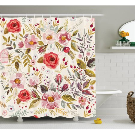Floral Shower Curtain, Hand Drawn Watercolor Style Flowers Roses Blooms Leaves Romantic Vintage Artwork, Fabric Bathroom Set with Hooks, Multicolor, by Ambesonne