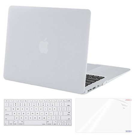 watch dfa66 4b7a9 Mosiso Plastic Hard Case with Keyboard Cover with Screen Protector for  MacBook Air 13 Inch (Models: A1369 and A1466), White