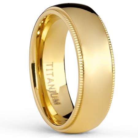 Goldtone Titanium Wedding Band Engagement Ring, Milgrain Edges Comfort Fit, 7mm